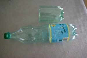 découpage d'une bouteille pour la confection d'un panier de pâques