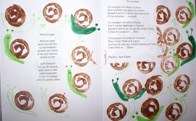 petit escargot réalisés à la peinture et feutres