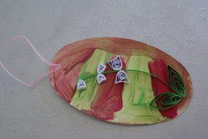 tableau rose et vert du brin de muguet