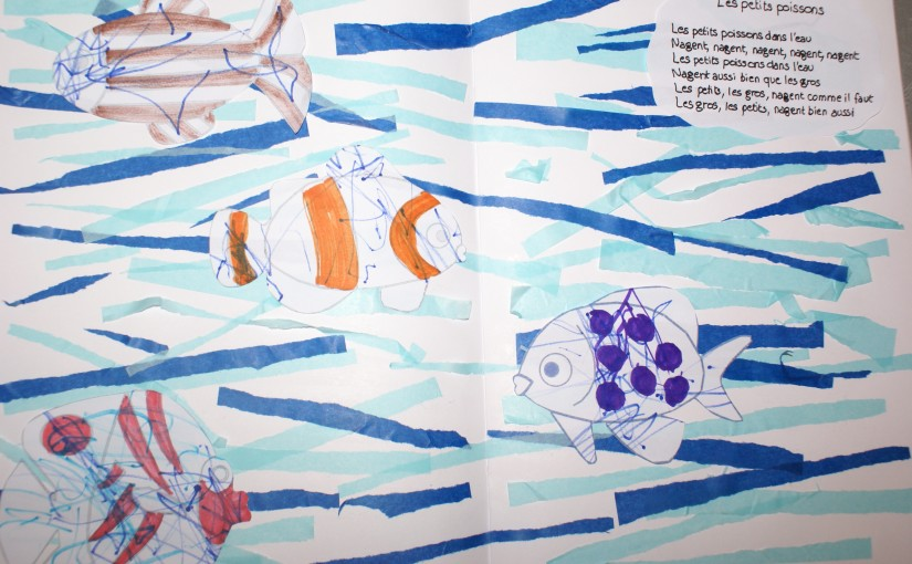 illustration chanson les petits poissons dans l'eau