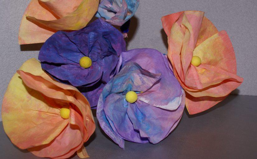 fleurs en filtres à café